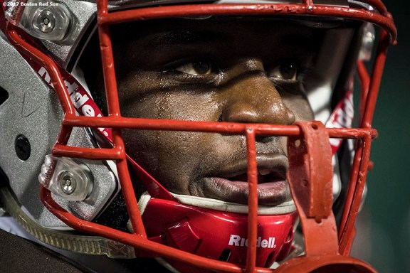 November 10, 2017, Boston, MA: A member of Brown University reacts as he warms up before a game against Dartmouth College during the Fenway Gridiron Series presented by Your Call Football at Fenway Park in Boston, Massachusetts Friday, November 10, 2017. (Photo by Billie Weiss/Boston Red Sox)