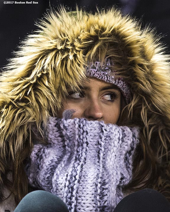 November 11, 2017, Boston, MA: A fan looks on during a game between University of Massachusetts and University of Maine during the Fenway Gridiron Series presented by Your Call Football at Fenway Park in Boston, Massachusetts Saturday, November 11, 2017. (Photo by Billie Weiss/Boston Red Sox)