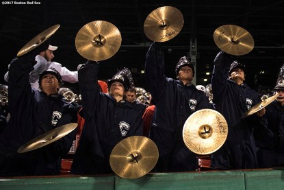 November 18, 2017, Boston, MA: The University of Connecticut band performs before a game against Boston College during the Fenway Gridiron Series presented by Your Call Football at Fenway Park in Boston, Massachusetts Saturday, November 18, 2017. (Photo by Billie Weiss/Boston Red Sox)