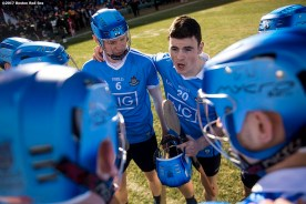 November 19, 2017, Boston, MA: Members of Dublin huddle before a game against Galway during the AIG Fenway Hurling Classic and Irish Festival at Fenway Park in Boston, Massachusetts Sunday, November 19, 2017. (Photo by Billie Weiss/Boston Red Sox)