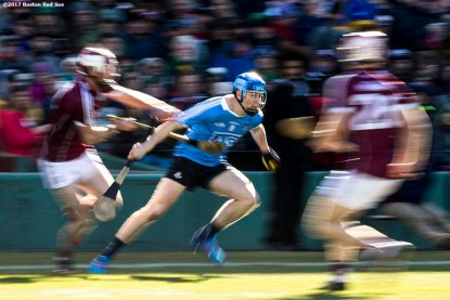 November 19, 2017, Boston, MA: Game action during a game between Dublin and Galway during the AIG Fenway Hurling Classic and Irish Festival at Fenway Park in Boston, Massachusetts Sunday, November 19, 2017. (Photo by Billie Weiss/Boston Red Sox)