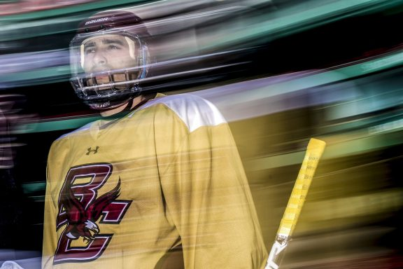 """""""Members of the Boston College take the ice during a practice session during Capital One Frozen Fenway 2017 at Fenway Park in Boston, Massachusetts Friday, January 6, 2017."""""""