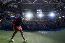 """""""Venus Williams walks onto the court before match against Oceane Dodin during the 2017 US Open Tennis Championships at the Billie Jean King National Tennis Center in New York, New York Wednesday, August 30, 2017."""""""