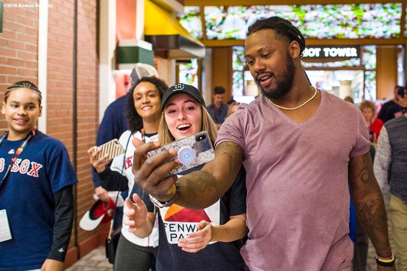 January 20, 2018, Ledyard, CT: Boston Red Sox designated hitter Hanley Ramirez poses for a selfie photograph with fans during the 2018 Red Sox Winter Weekend at Foxwoods Resort & Casino in Ledyard, Connecticut Friday, January 20, 2018. (Photo by Billie Weiss/Boston Red Sox)