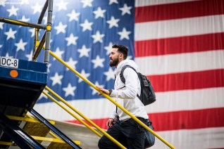 BOSTON, MA - JANUARY 30: Rick Porcello #22 of the Boston Red Sox boards the plan inside the hangar at Boston Logan Airport during a Boston Red Sox hurricane relief trip from Boston, Massachusetts to Caguas, Puerto Rico on January 30, 2018 . (Photo by Billie Weiss/Boston Red Sox/Getty Images) *** Local Caption ***Rick Porcello