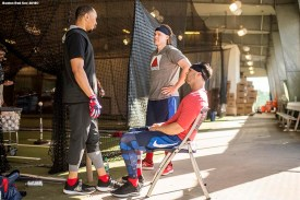 FT. MYERS, FL - FEBRUARY 16: Mookie Betts #50, Brock Holt #12, and Andrew Benintendi #16 of the Boston Red Sox talk in the batting cage during a team workout on February 16, 2018 at Fenway South in Fort Myers, Florida . (Photo by Billie Weiss/Boston Red Sox/Getty Images) *** Local Caption *** Mookie Betts; Andrew Benintendi; Brock Holt