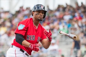 FORT MYERS, FL - FEBRUARY 23: Xander Bogaerts #2 of the Boston Red Sox tosses his bat during a game against the Minnesota Twins at JetBlue Park at Fenway South on February 23, 2018 in Fort Myers, Florida. (Photo by Billie Weiss/Boston Red Sox/Getty Images) *** Local Caption *** Xander Bogaerts