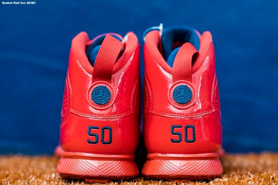 ST. PETERSBURG, FL - MARCH 28: The cleats of Mookie Betts #50 of the Boston Red Sox are shown during a team workout before Opening Day on March 28, 2018 at Tropicana Field in St. Petersburg, Florida . (Photo by Billie Weiss/Boston Red Sox/Getty Images) *** Local Caption *** Mookie Betts