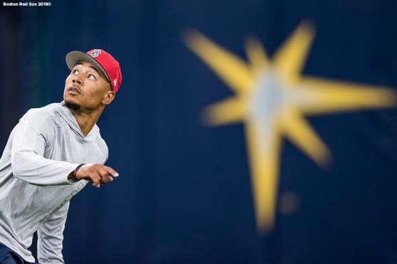 ST. PETERSBURG, FL - MARCH 28: Mookie Betts #50 of the Boston Red Sox tracks a fly ball during a team workout before Opening Day on March 28, 2018 at Tropicana Field in St. Petersburg, Florida . (Photo by Billie Weiss/Boston Red Sox/Getty Images) *** Local Caption *** Mookie Betts