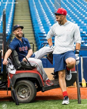 ST. PETERSBURG, FL - MARCH 28: Dustin Pedroia #15 reacts with J.D. Martinez #28 of the Boston Red Sox during a team workout before Opening Day on March 28, 2018 at Tropicana Field in St. Petersburg, Florida . (Photo by Billie Weiss/Boston Red Sox/Getty Images) *** Local Caption *** Dustin Pedroia; J.D. Martinez