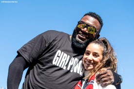 BOSTON, MA - APRIL 5: Former designated hitter David Ortiz of the Boston Red Sox reveals a shirt displaying a 'Girl Power' message alongside olympic gymnast Aly Raisman before the Opening Day game against the Tampa Bay Rays on April 5, 2018 at Fenway Park in Boston, Massachusetts. (Photo by Billie Weiss/Boston Red Sox/Getty Images) *** Local Caption *** David Ortiz; Aly Raisman
