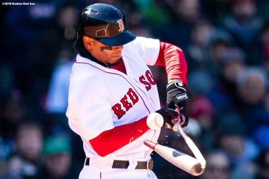 BOSTON, MA - APRIL 5: Xander Bogaerts #2 of the Boston Red Sox breaks his bat during the third inning of the Opening Day game against the Tampa Bay Rays on April 5, 2018 at Fenway Park in Boston, Massachusetts. (Photo by Billie Weiss/Boston Red Sox/Getty Images) *** Local Caption *** Xander Bogaerts