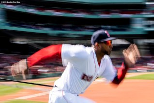 BOSTON, MA - APRIL 7: Eduardo Nunez #36 of the Boston Red Sox warms up before a game against the Tampa Bay Rays on April 7, 2018 at Fenway Park in Boston, Massachusetts. (Photo by Billie Weiss/Boston Red Sox/Getty Images) *** Local Caption *** Eduardo Nunez