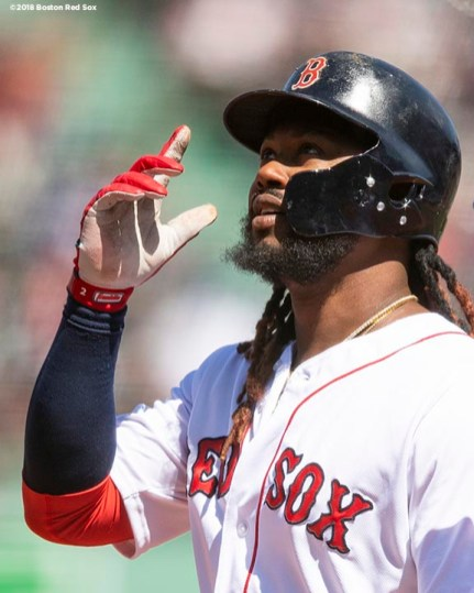 BOSTON, MA - APRIL 7: Hanley Ramirez #13 of the Boston Red Sox reacts after hitting a single during the first inning of a game against the Tampa Bay Rays on April 7, 2018 at Fenway Park in Boston, Massachusetts. (Photo by Billie Weiss/Boston Red Sox/Getty Images) *** Local Caption *** Hanley Ramirez