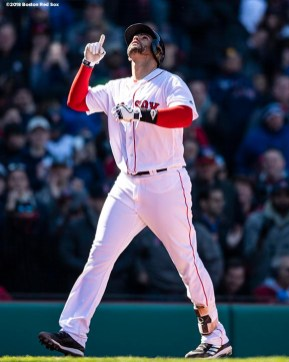 BOSTON, MA - APRIL 7: J.D. Martinez #28 of the Boston Red Sox reacts after hitting a solo home run during the seventh inning of a game against the Tampa Bay Rays on April 7, 2018 at Fenway Park in Boston, Massachusetts. (Photo by Billie Weiss/Boston Red Sox/Getty Images) *** Local Caption *** J.D. Martinez