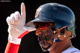 BOSTON, MA - APRIL 7: Eduardo Nunez #36 of the Boston Red Sox reacts after hitting a single during the seventh inning of a game against the Tampa Bay Rays on April 7, 2018 at Fenway Park in Boston, Massachusetts. (Photo by Billie Weiss/Boston Red Sox/Getty Images) *** Local Caption *** Eduardo Nunez