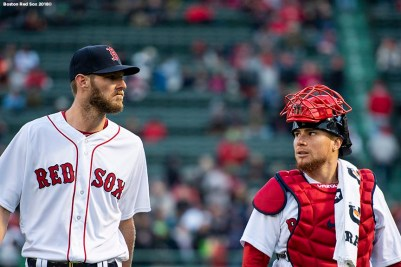 BOSTON, MA - APRIL 10: Chris Sale #41 and Christian Vazquez #7 of the Boston Red Sox walk toward the dugout before a game against the New York Yankees on April 10, 2018 at Fenway Park in Boston, Massachusetts. (Photo by Billie Weiss/Boston Red Sox/Getty Images) *** Local Caption *** Chris Sale; Christian Vazquez