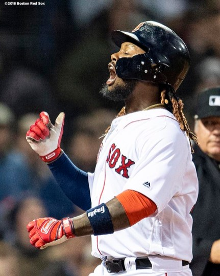 BOSTON, MA - APRIL 11: Hanley Ramirez #13 of the Boston Red Sox reacts after hitting a solo home run during the first inning of a game against the New York Yankees on April 11, 2018 at Fenway Park in Boston, Massachusetts. (Photo by Billie Weiss/Boston Red Sox/Getty Images) *** Local Caption *** Hanley Ramirez