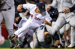 BOSTON, MA - APRIL 11: Tyler Austin #26 of the New York Yankees fights with Joe Kelly #46 of the Boston Red Sox after being hit by a pitch during the seventh inning of a game on April 11, 2018 at Fenway Park in Boston, Massachusetts. The play led to a benches clearing argument. (Photo by Billie Weiss/Boston Red Sox/Getty Images) *** Local Caption *** Tyler Austin; Joe Kelly