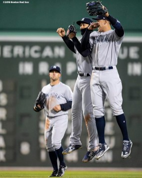 BOSTON, MA - APRIL 11: Aaron Judge #99 of the New York Yankees and Giancarlo Stanton #27 celebrate after defeating the Boston Red Sox at Fenway Park on April 11, 2018 in Boston, Massachusetts. (Photo by Billie Weiss/Boston Red Sox/Getty Images) *** Local Caption *** Aaron Judge; Giancarlo Stanton