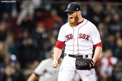 BOSTON, MA - APRIL 12: Craig Kimbrel #46 of the Boston Red Sox reacts after recording the final out of a game against the New York Yankees on April 12, 2018 at Fenway Park in Boston, Massachusetts. (Photo by Billie Weiss/Boston Red Sox/Getty Images) *** Local Caption *** Craig Kimbrel