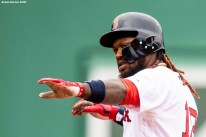 BOSTON, MA - APRIL 14: Hanley Ramirez #13 of the Boston Red Sox reacts after hitting an RBI double during the fourth inning of a game against the Baltimore Orioles on April 14, 2018 at Fenway Park in Boston, Massachusetts. (Photo by Billie Weiss/Boston Red Sox/Getty Images) *** Local Caption *** Hanley Ramirez