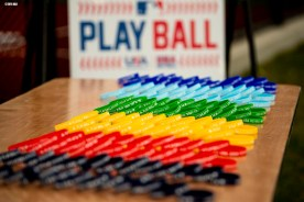 SPRINGFIELD, MA. - APRIL 27: Giveaway wristbands are shown during a Major League Baseball Play Ball event on Friday, April 27, 2018 at Berry-Allen Field at Springfield College in Springfield, Massachusetts. (Photo by Billie Weiss/MLB Photos via Getty Images) *** Local Caption ***