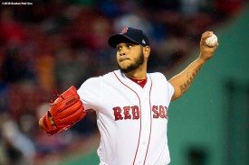 BOSTON, MA - APRIL 30: Eduardo Rodriguez #57 of the Boston Red Sox delivers during the first inning of a game against the Kansas City Royals on April 30, 2018 at Fenway Park in Boston, Massachusetts. (Photo by Billie Weiss/Boston Red Sox/Getty Images) *** Local Caption *** Eduardo Rodriguez