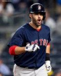 NEW YORK, NY - MAY 10: J.D. Martinez #28 of the Boston Red Sox reacts after hitting a go ahead solo home run during the eighth inning of a game against the New York Yankees on May 10, 2018 at Yankee Stadium in the Bronx borough of New York City. (Photo by Billie Weiss/Boston Red Sox/Getty Images) *** Local Caption *** J.D. Martinez