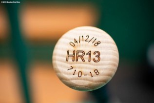 BOSTON, MA - MAY 16: The bat handle of Hanley Ramirez #13 Boston Red Sox is shown before a game against the Oakland Athletics on May 16, 2018 at Fenway Park in Boston, Massachusetts. (Photo by Billie Weiss/Boston Red Sox/Getty Images) *** Local Caption *** Hanley Ramirez