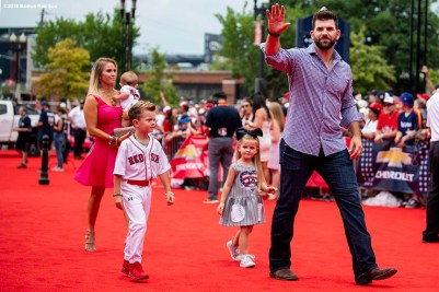 WASHINGTON, DC - JULY 17: Mitch Moreland #18 of the Boston Red Sox and family attends the 89th MLB All-Star Game, presented by MasterCard red carpet at Nationals Park Tuesday, July 17, 2018 in Washington, DC. (Photo by Billie Weiss/Boston Red Sox/Getty Images) *** Local Caption *** Mitch Moreland
