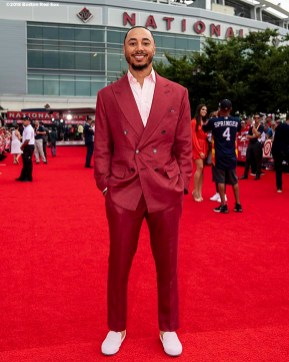 WASHINGTON, DC - JULY 17: Mookie Betts #50 of the Boston Red Sox attends the 89th MLB All-Star Game, presented by MasterCard red carpet at Nationals Park Tuesday, July 17, 2018 in Washington, DC. (Photo by Billie Weiss/Boston Red Sox/Getty Images) *** Local Caption *** Mookie Betts