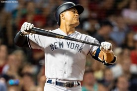 BOSTON, MA - AUGUST 2: Giancarlo Stanton #27 of the New York Yankees reacts as strikes out during the fourth inning of a game against the Boston Red Sox on August 2, 2018 at Fenway Park in Boston, Massachusetts. (Photo by Billie Weiss/Boston Red Sox/Getty Images) *** Local Caption *** Giancarlo Stanton