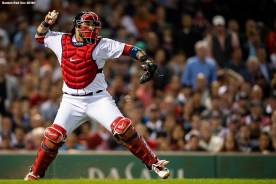 BOSTON, MA - AUGUST 21: Sandy Leon #3 of the Boston Red Sox throws to second base during the sixth inning of a game against the Cleveland Indians on August 21, 2018 at Fenway Park in Boston, Massachusetts. (Photo by Billie Weiss/Boston Red Sox/Getty Images) *** Local Caption *** Sandy Leon