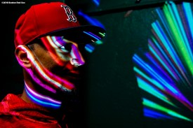 BOSTON, MA - SEPTEMBER 9: Mookie Betts #50 of the Boston Red Sox reacts as he walks through the tunnel before a game against the Houston Astros on September 9, 2018 at Fenway Park in Boston, Massachusetts. (Photo by Billie Weiss/Boston Red Sox/Getty Images) *** Local Caption *** Mookie Betts