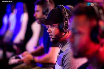 September 17, 2018, New York City, NY: Boston Red Sox pitcher Eduardo Rodriguez plays video games during a visit to the Microsoft gaming studio in New York City, New York Monday, September 17, 2018. (Photo by Billie Weiss/Boston Red Sox)
