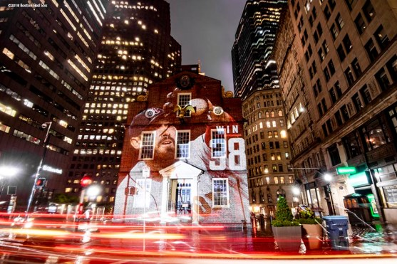 BOSTON, MA - OCTOBER 2: An image of Rick Porcello #22 of the Boston Red Sox is projected onto the Old State House on October 2, 2018 in Boston, Massachusetts. (Photo by Billie Weiss/Boston Red Sox/Getty Images) *** Local Caption *** Rick Porcello