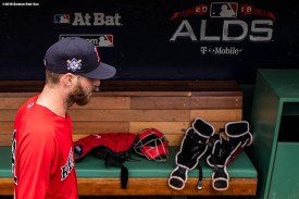 BOSTON, MA - OCTOBER 3: Chris Sale #41 of the Boston Red Sox walks through the dugout during a workout before the American League Division Series on October 3, 2018 at Fenway Park in Boston, Massachusetts. (Photo by Billie Weiss/Boston Red Sox/Getty Images) *** Local Caption *** Chris Sale