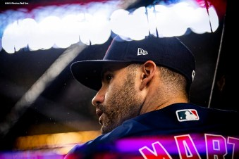 NEW YORK, NY - OCTOBER 8: J.D. Martinez #28 of the Boston Red Sox takes batting practice before game three of the American League Division Series against the New York Yankees on October 8, 2018 at Yankee Stadium in the Bronx borough of New York City. (Photo by Billie Weiss/Boston Red Sox/Getty Images) *** Local Caption *** J.D. Martinez