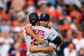 HOUSTON, TX - OCTOBER 18: Xander Bogaerts #2 and Eduardo Rodriguez #57 of the Boston Red Sox celebrate after clinching the American League Championship Series in game five against the Houston Astros on October 18, 2018 at Minute Maid Park in Houston, Texas. (Photo by Billie Weiss/Boston Red Sox/Getty Images) *** Local Caption *** Xander Bogaerts; Eduardo Rodriguez