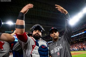 HOUSTON, TX - OCTOBER 18: Sandy Leon #3 and Manager Alex Cora of the Boston Red Sox celebrate after clinching the American League Championship Series in game five against the Houston Astros on October 18, 2018 at Minute Maid Park in Houston, Texas. (Photo by Billie Weiss/Boston Red Sox/Getty Images) *** Local Caption *** Sandy Leon; Alex Cora