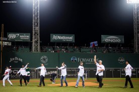 BOSTON, MA - OCTOBER 24: Former Boston Red Sox players Jason Varitek, David Ortiz, Tim Wakefield, Kevin Millar, Alan Embree, Keith Foulke, and Pedro Martinez throw out a ceremonial first pitch before game two of the 2018 World Series against the Los Angeles Dodgers on October 23, 2018 at Fenway Park in Boston, Massachusetts. (Photo by Billie Weiss/Boston Red Sox/Getty Images) *** Local Caption *** Jason Varitek; David Ortiz; Tim Wakefield; Kevin Millar; Alan Embree; Keith Folk; Pedro Martinez
