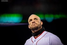 BOSTON, MA - OCTOBER 24: Steve Pearce #25 of the Boston Red Sox reacts during the third inning of game two of the 2018 World Series against the Los Angeles Dodgers on October 23, 2018 at Fenway Park in Boston, Massachusetts. (Photo by Billie Weiss/Boston Red Sox/Getty Images) *** Local Caption *** Steve Pearce