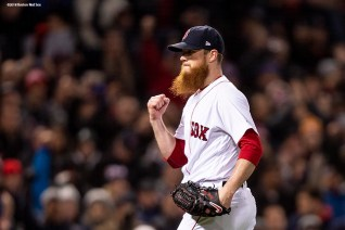 BOSTON, MA - OCTOBER 24: Craig Kimbrel #46 of the Boston Red Sox celebrates a victory in game two of the 2018 World Series against the Los Angeles Dodgers on October 23, 2018 at Fenway Park in Boston, Massachusetts. (Photo by Billie Weiss/Boston Red Sox/Getty Images) *** Local Caption *** Craig Kimbrel