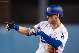 LOS ANGELES, CA - OCTOBER 26: Cody Bellinger #35 of the Los Angeles Dodgers reacts during the ninth inning of game three of the 2018 World Series against the Boston Red Sox on October 26, 2018 at Dodger Stadium in Los Angeles, California. (Photo by Billie Weiss/Boston Red Sox/Getty Images) *** Local Caption *** Cody Bellinger