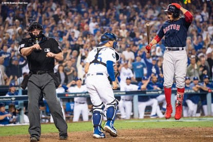 LOS ANGELES, CA - OCTOBER 26: Mookie Betts #50 of the Boston Red Sox reacts as he strikes out during the inning of game three of the 2018 World Series against the Los Angeles Dodgers on October 26, 2018 at Dodger Stadium in Los Angeles, California. (Photo by Billie Weiss/Boston Red Sox/Getty Images) *** Local Caption *** Mookie Betts