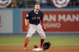 LOS ANGELES, CA - OCTOBER 27: Brock Holt #12 of the Boston Red Sox reacts after hitting a double during the ninth inning of game four of the 2018 World Series against the Los Angeles Dodgers on October 27, 2018 at Dodger Stadium in Los Angeles, California. (Photo by Billie Weiss/Boston Red Sox/Getty Images) *** Local Caption *** Brock Holt
