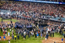 LOS ANGELES, CA - OCTOBER 28: The trophy presentation ceremony is held as members of the Boston Red Sox celebrate after winning the 2018 World Series in game five against the Los Angeles Dodgers on October 28, 2018 at Dodger Stadium in Los Angeles, California. (Photo by Billie Weiss/Boston Red Sox/Getty Images) *** Local Caption ***