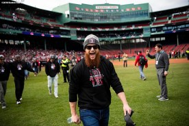 BOSTON, MA - OCTOBER 31: Craig Kimbrel #46 of the Boston Red Sox walks toward the duck boats during the 2018 World Series rolling rally parade on October 31, 2018 in Boston, Massachusetts. (Photo by Billie Weiss/Boston Red Sox/Getty Images) *** Local Caption *** Craig Kimbrel