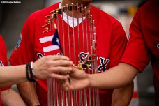 CAGUAS, PUERTO RICO - NOVEMBER 3: The 2018 World Series trophy is held during a Boston Red Sox trip from Boston, Massachusetts to Caguas, Puerto Rico on November 3, 2018 after the Boston Red Sox 2018 World Series victory. (Photo by Billie Weiss/Boston Red Sox/Getty Images) *** Local Caption ***